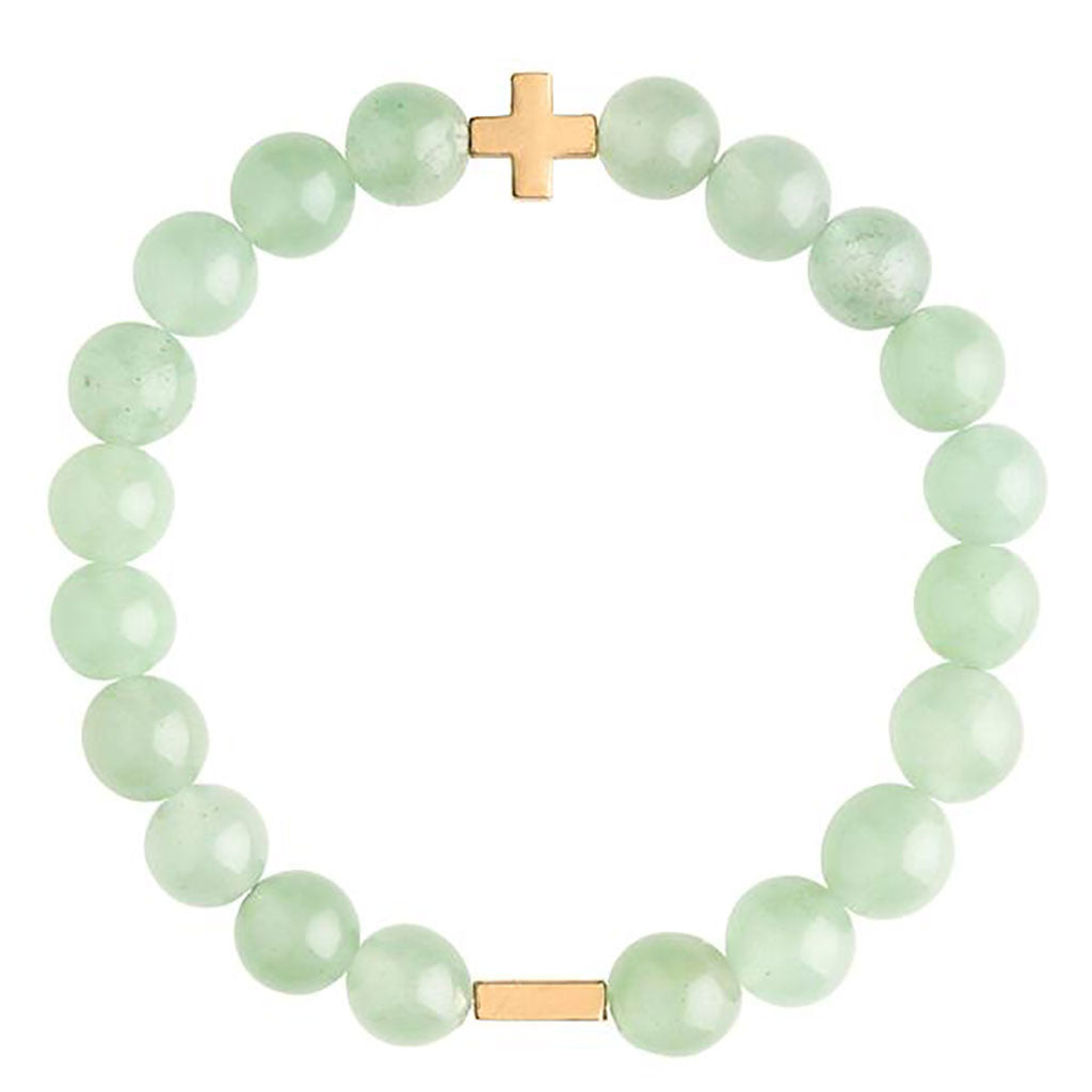 Aventurine & Gold Elastic Bracelet - Charged - Palm Beach Athletic Wear