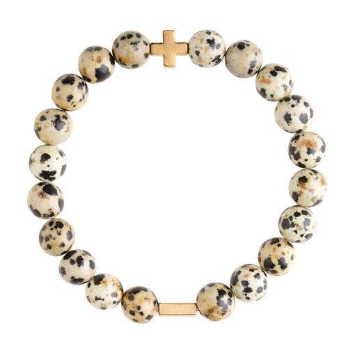 Dalmation Jasper & Gold Elastic Bracelet - Charged - Palm Beach Athletic Wear
