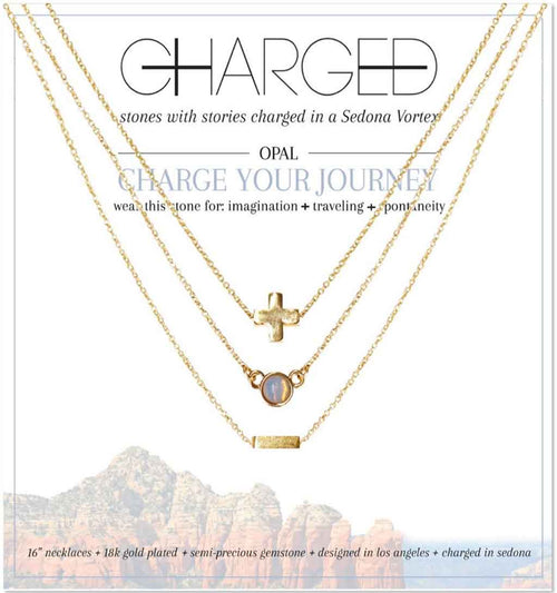 Opal & Gold Set of 3 Necklaces - Charged - Palm Beach Athletic Wear