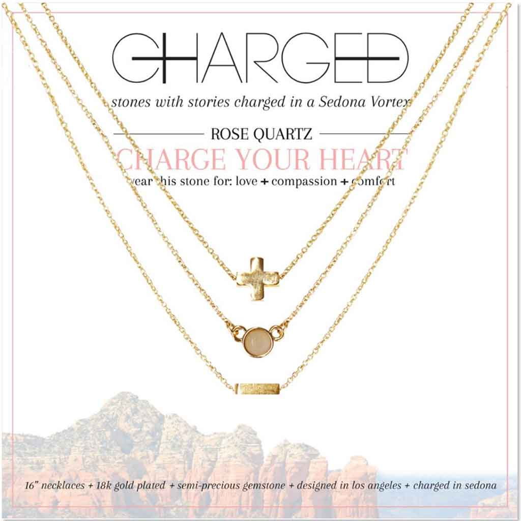 Set of 3 Rose Quartz and Gold Necklaces Charged in a Sedona Vortex.