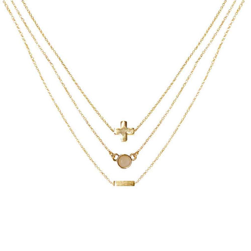 Rose Quartz & Gold Set of 3 Necklaces - Charged - Palm Beach Athletic Wear