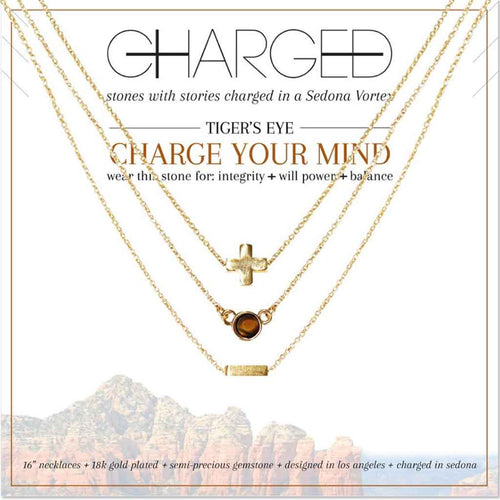 Set of 3 Tiger's Eye and gold necklace by Charged Jewelry.