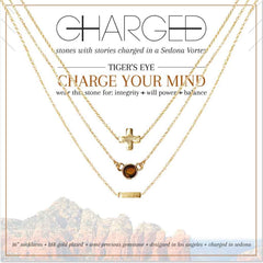 Tiger's Eye & Gold Set of 3 Necklaces - Charged - Palm Beach Athletic Wear