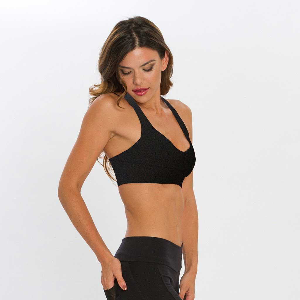 Happy Bra black sports bra with mesh detailing by Bluefish Sport.