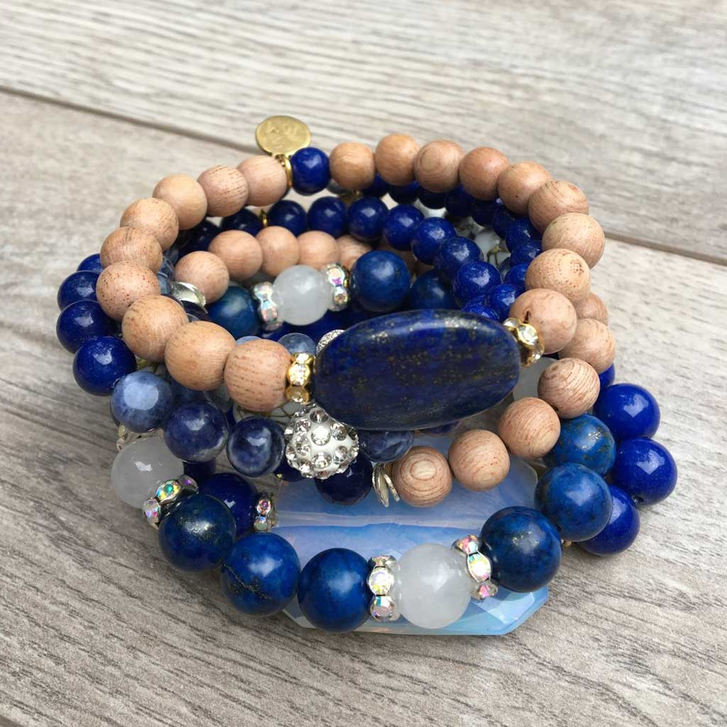 Blue Tango collection of stacked JOM gemstone bracelets.