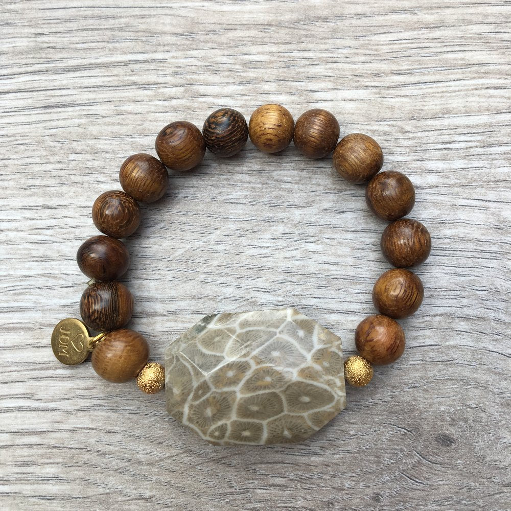 Petoskey Stone & Dark Wooden Beads with Gold Accents