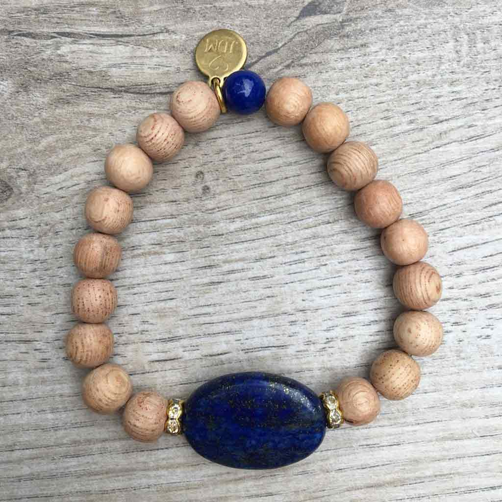 Never Blue When Dancing Lapis Stone & Light Wood Beads w/Gold Accents