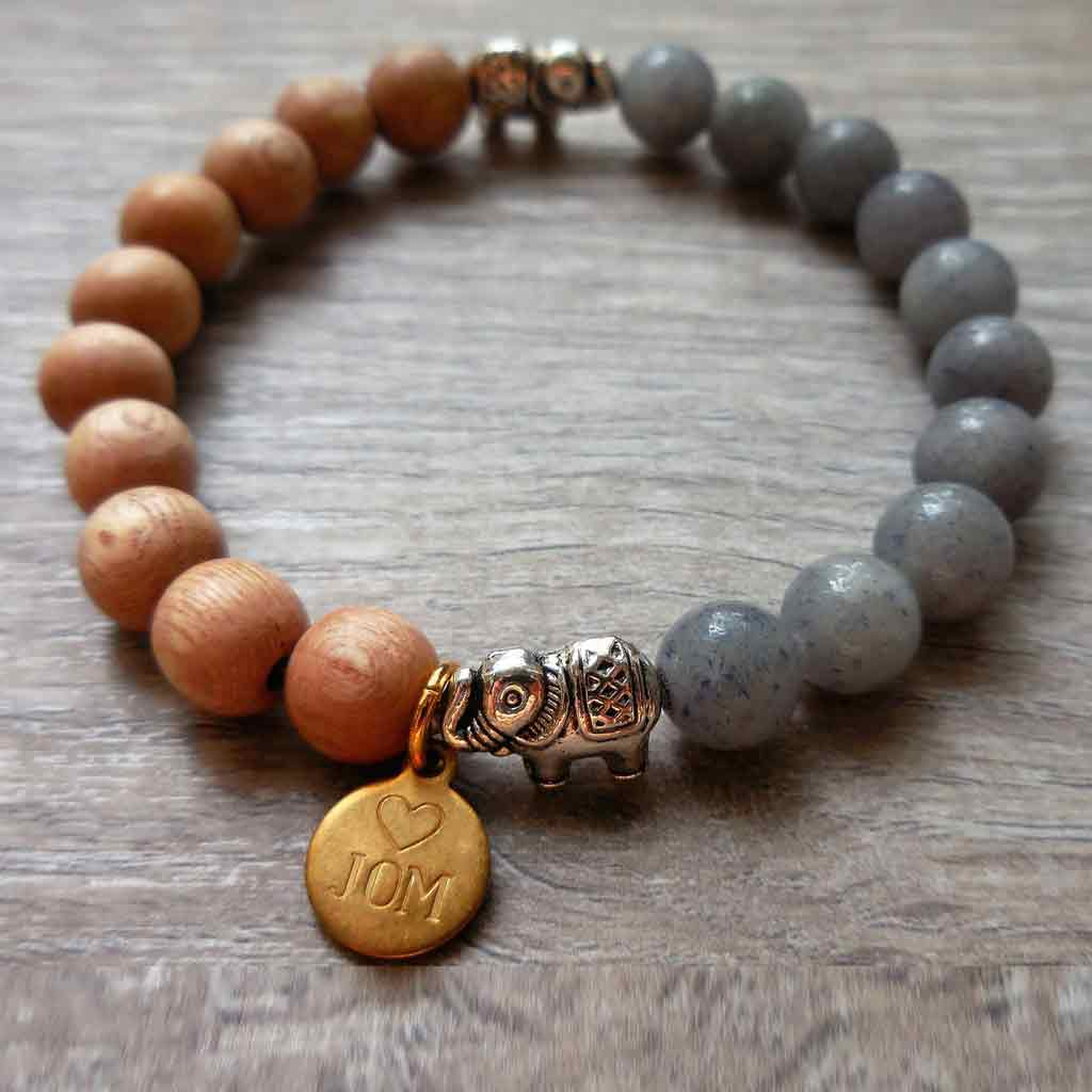 Blue Moon Aventurine and natural wood beads with silver elephants.