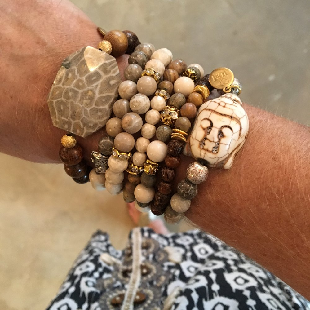 Petoskey Stone & Dark Wooden Beads w/Gold Accents stacked with other Jom Bracelets.