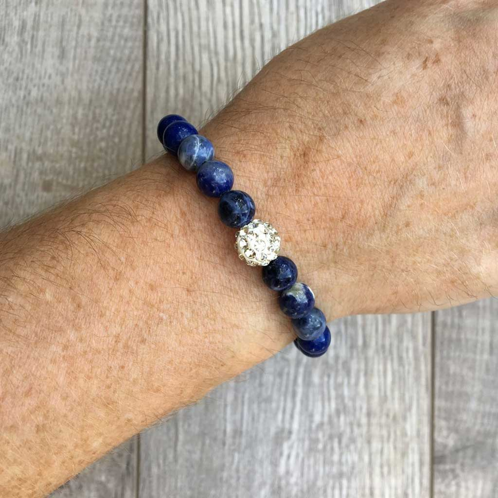 JOM - Deep Blue Summer In Bloom Gemstone bracelet with pave crystal accent bead.
