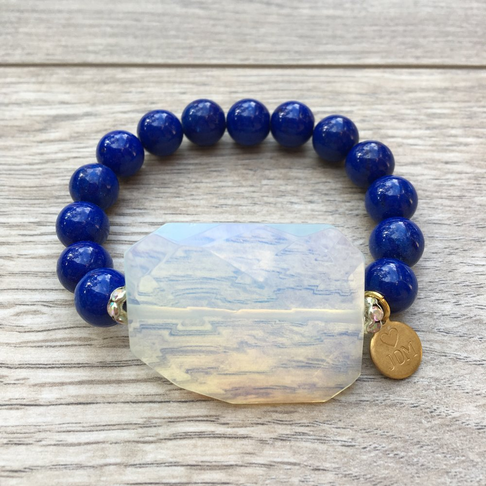 In a World of Blue  Moonstone & Gemstone Beads w/Silver Accents