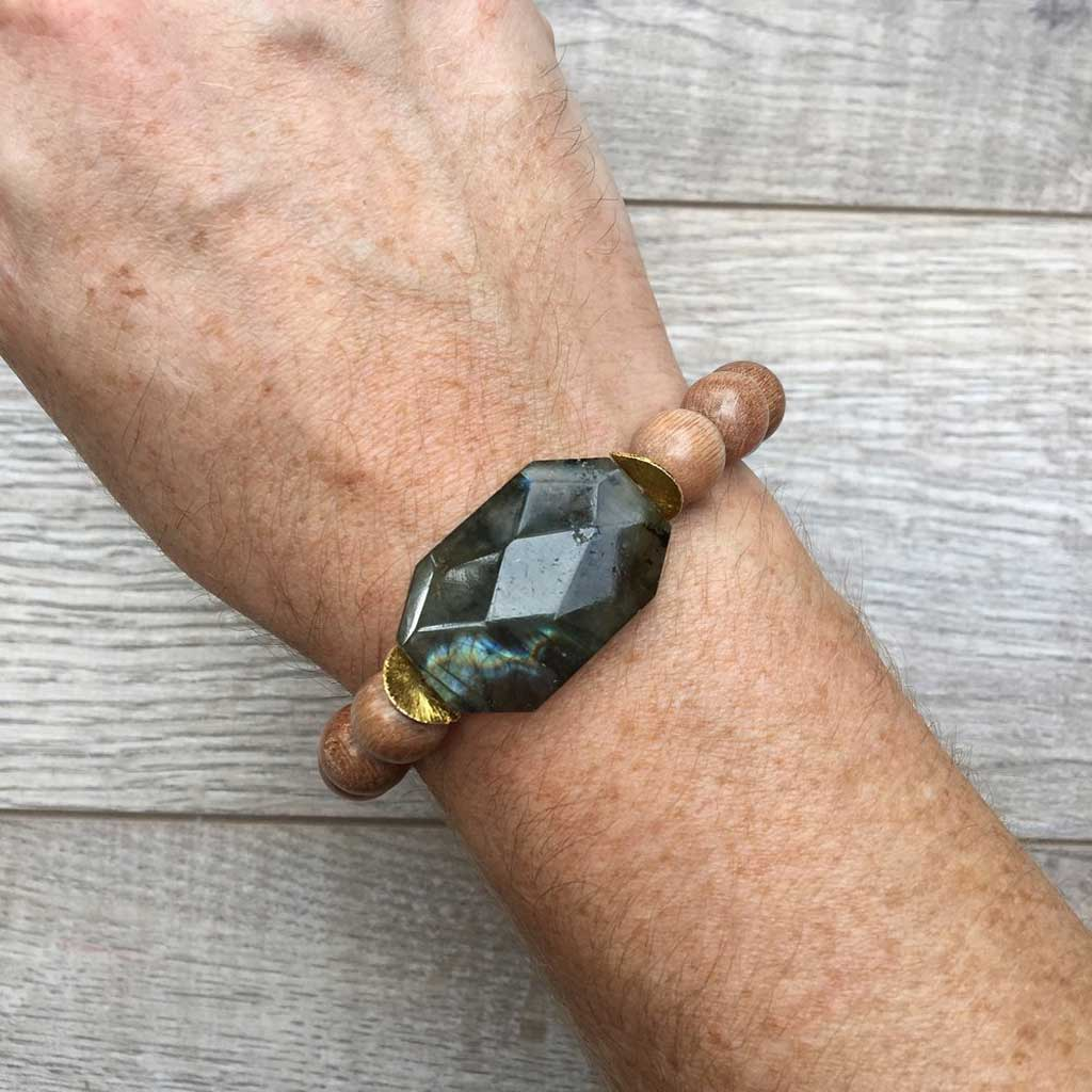 Labradorite Stone & Light Wooden Beads w/Gold Accents