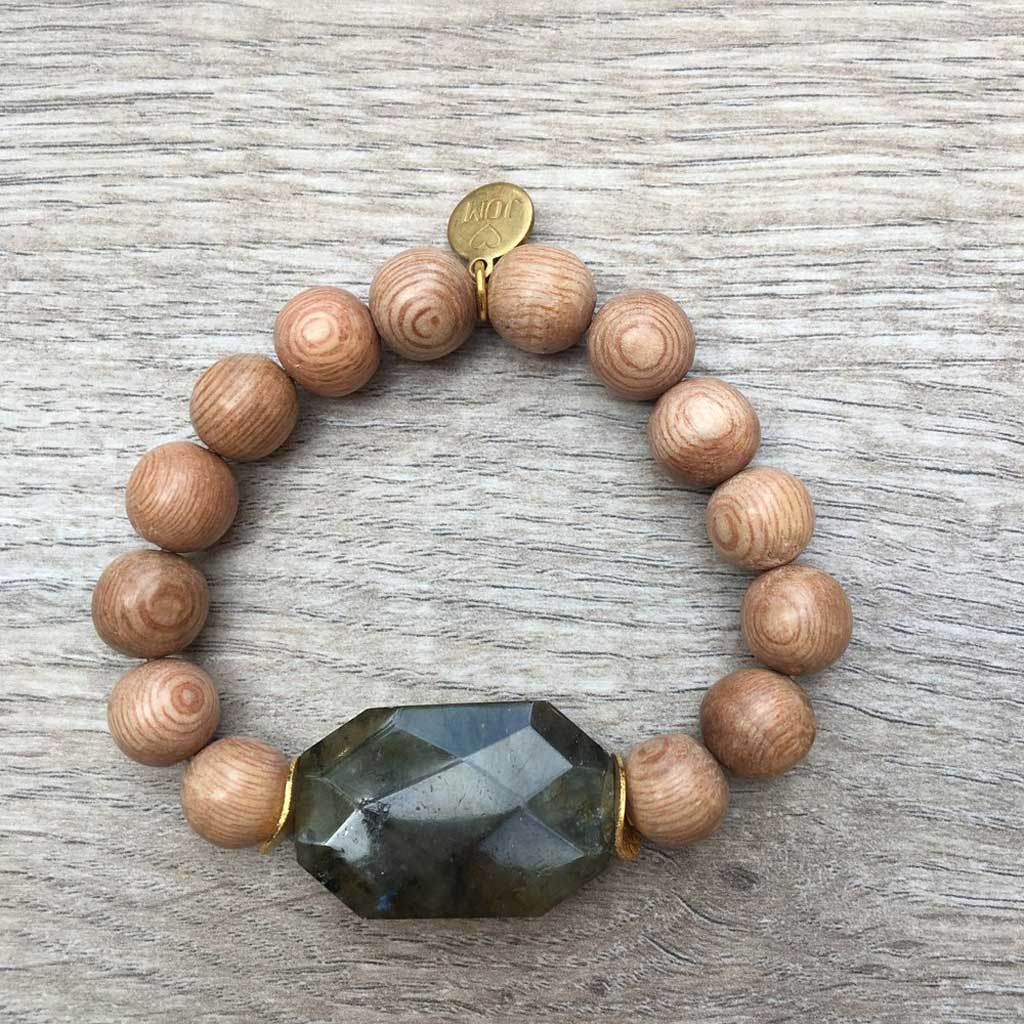 JOM I'm Partial to the Sunshine Labradorite Stone & Light Wooden Beads with Gold Accents