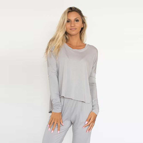 Bliss Long Sleeve soft bamboo women's long sleeve top in sand.