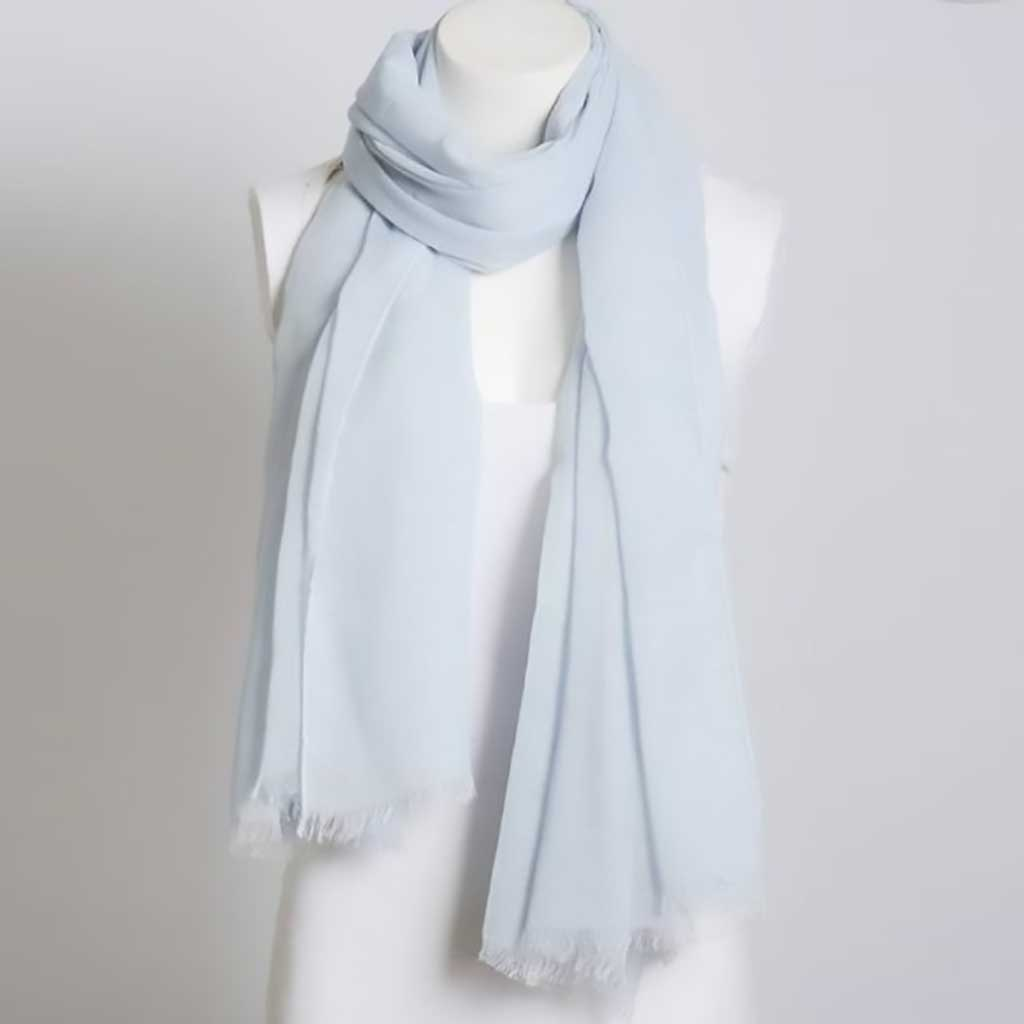 Light Blue Lightweight Frayed Scarf - Purple Lily - Palm Beach Athletic Wear