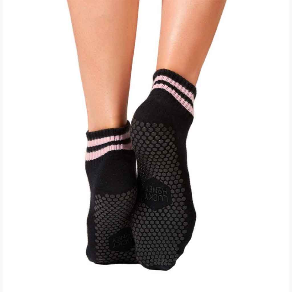 Retro style black grip low cut socks with pink stripes by Lucky Honey.