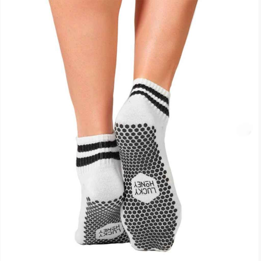 The Boyfriend Sock - White & Black - Lucky Honey - Palm Beach Athletic Wear