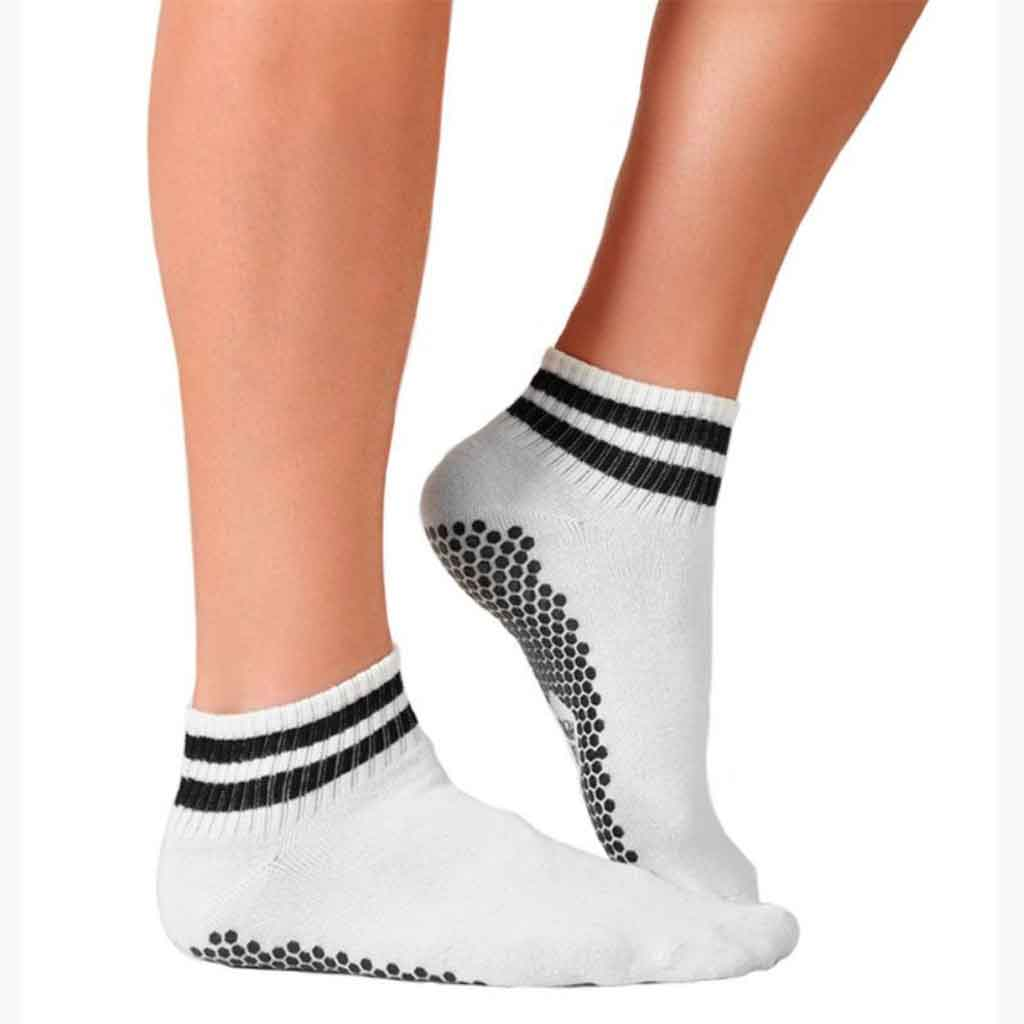 Retro style white grip low cut socks with black stripes by Lucky Honey.