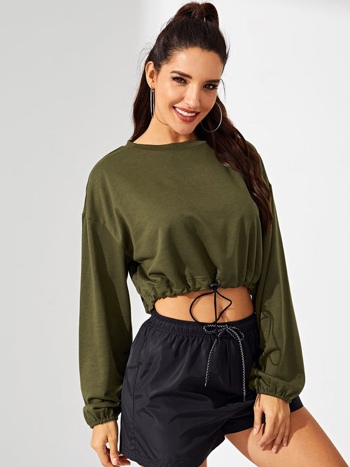 Army green cropped bishop sleeve sweatshirt.