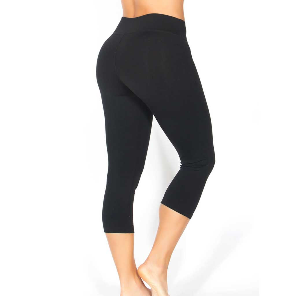 Protokolo basic black womens activewear capri.