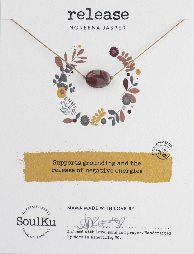 NOREENA JASPER GEMSTONE SOUL-FULL OF LIGHT NECKLACE FOR RELEASE - SoulKu - Palm Beach Athletic Wear