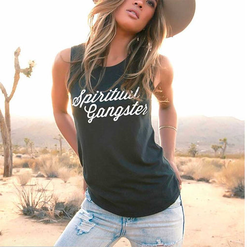 Vintage black soft muscle tank with white Spiritual Gangster script logo across chest.