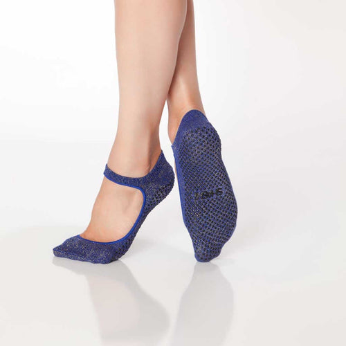 Shashi sweet indigo sparkle grip socks with maryjane look.