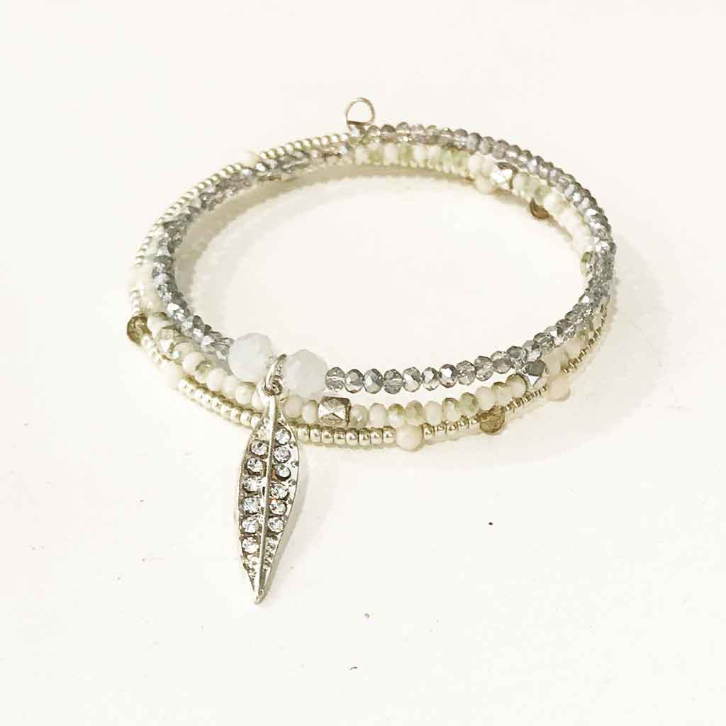 Silver Feather Memory Wire Wrap Bracelet | Palm Beach Athletic Wear ...