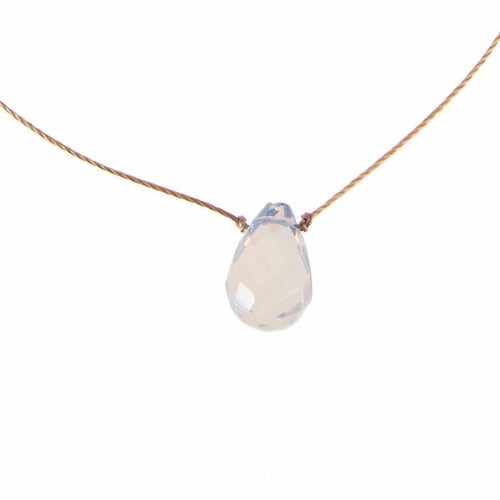 "Opaline crystal necklace on a 16"" cord."