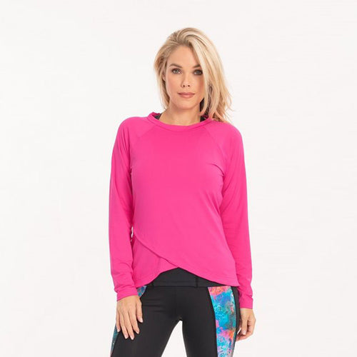 Spirit Long Sleeve top in pink with an overlapping hem.