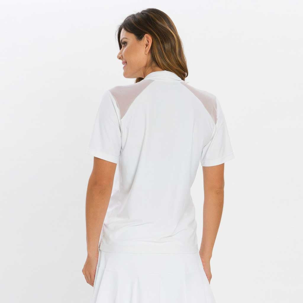 Back view of Swing Top in white. Short sleeve zip up top with white mesh on top of shoulders.