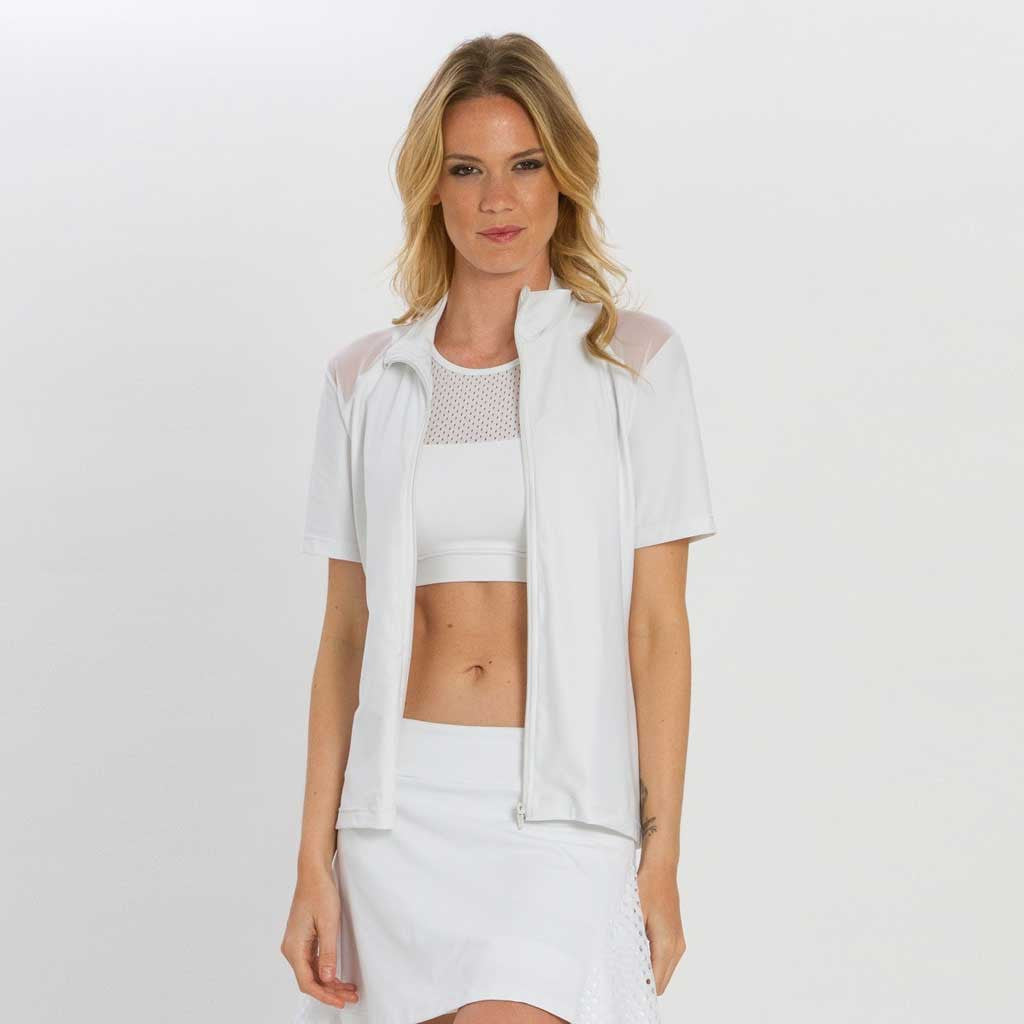 Swing Top in white shown unzipped. Short sleeve zip up top with black mesh on top of shoulders.