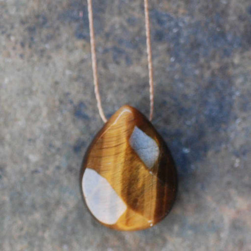 "Soul Full Tiger Eye necklace on a 16"" cord."