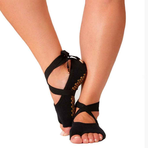 Black toeless ballet style lace up gripn socks by Lucky Honey.