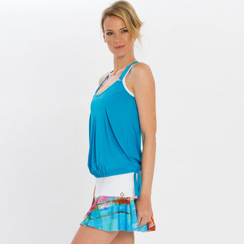 Turquoise cover up activewear top with racer back.