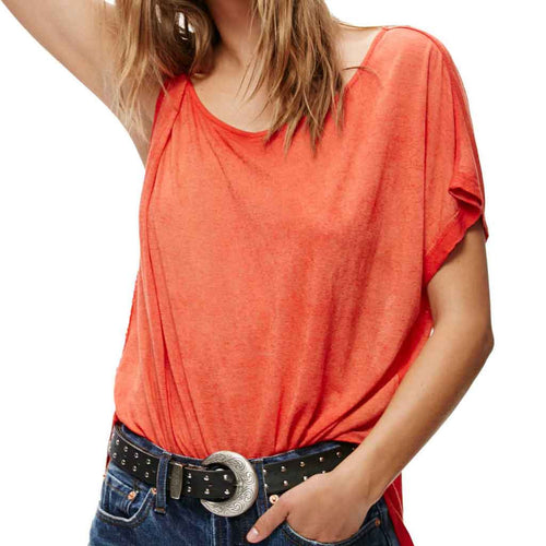 Lightweight coral red top with knot on one side and short sleeve on the other.