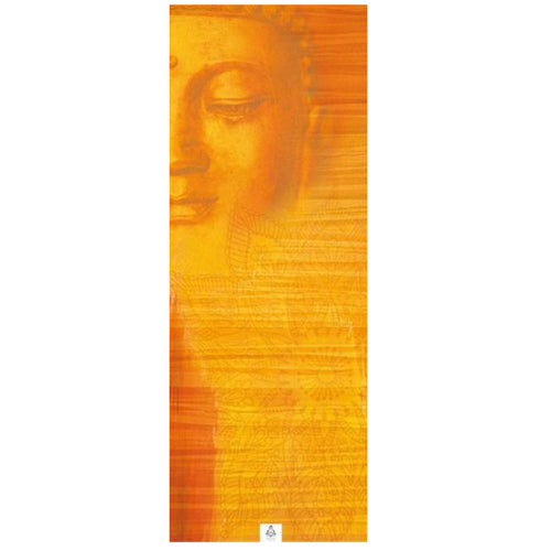 Peaceful Buddha Gold extra long absorbant yoga mat towel by ZenLife.