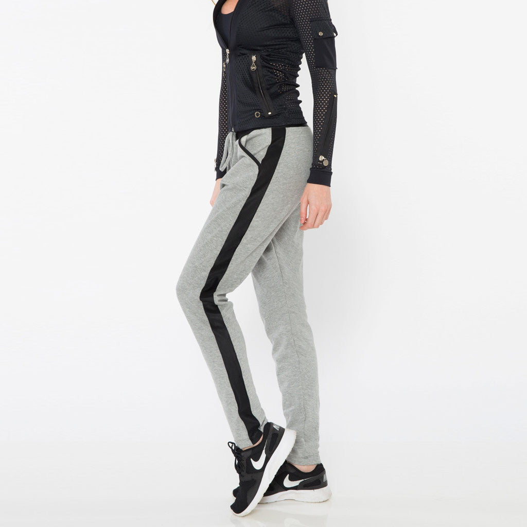Gray jogger style pants with black racer stripe.