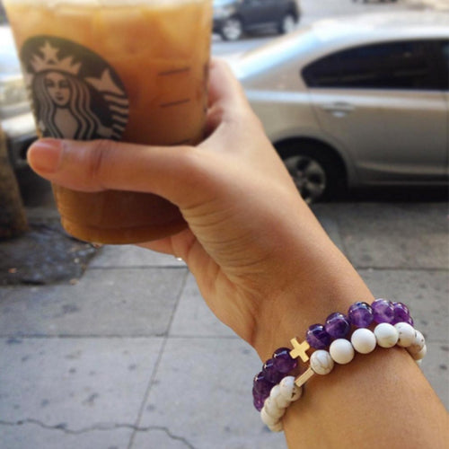 Amethyst & Gold Elastic Bracelet - Charged - Palm Beach Athletic Wear