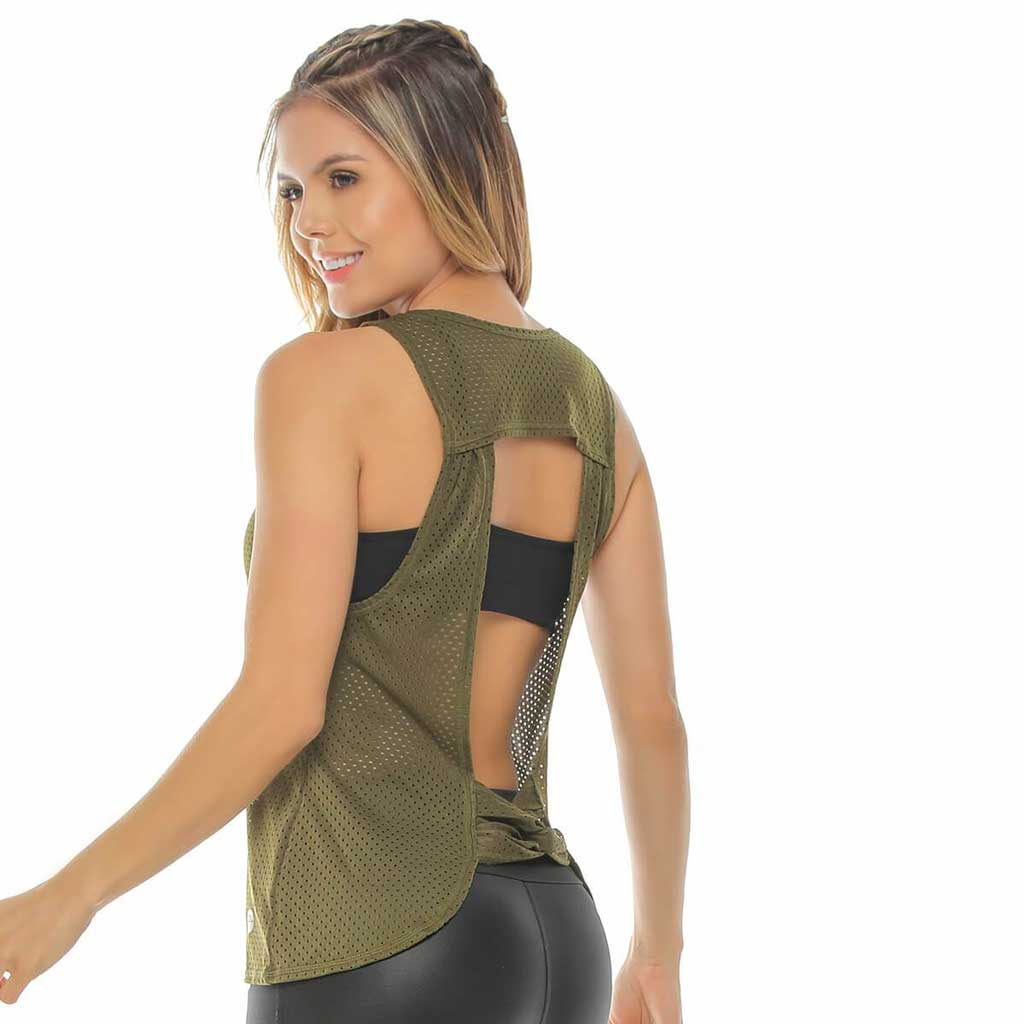 Army green open back mesh tank top.