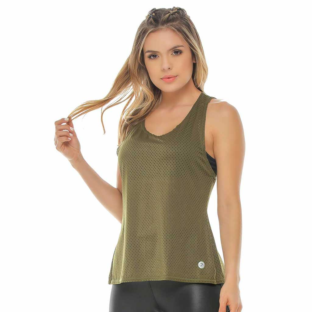 Green Aerial Mesh Open Back Tank - Protokolo - Palm Beach Athletic Wear