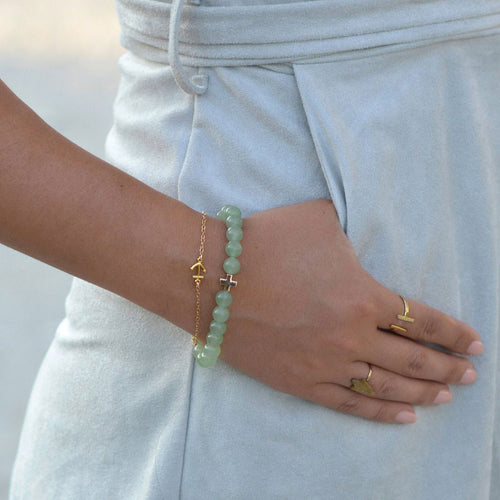 Aventurine & Gold elastic meditation bracelet charged in a Sedona Vortex. Aventurine is known as the stone of optimism.