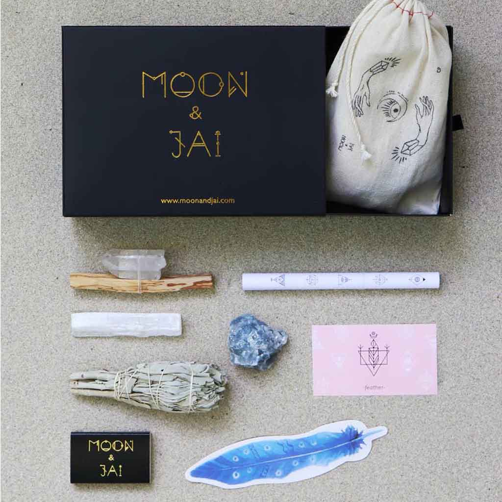 Moon and Jai - BALANCE ritual kit with blue calcite