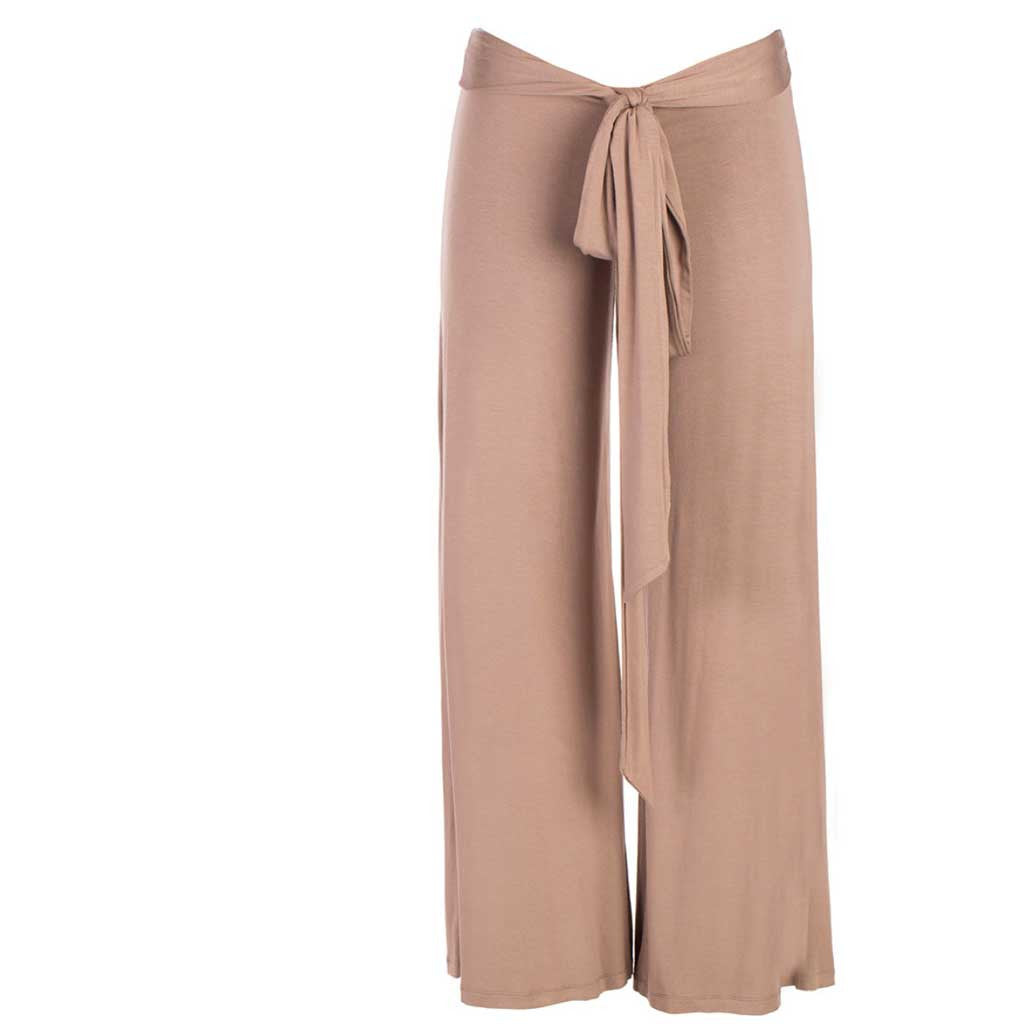 Jholie ballerina pant in brown mocca. Front view.