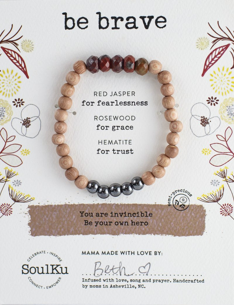 "RED JASPER GEMSTONE ""BE BRAVE"" BE YOUR OWN HERO BRACELET - SoulKu - Palm Beach Athletic Wear"