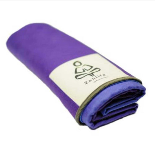 Breathe blue and purple extra long absorbant yoga mat towel by ZenLife.