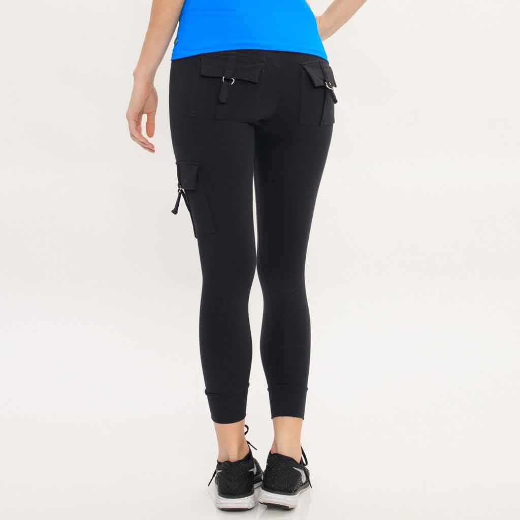 Bluefish Sport Cargo Legging in black with pockets.