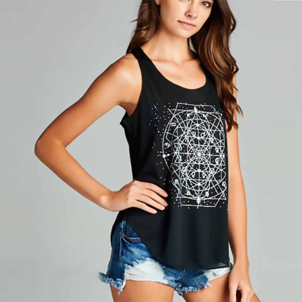 Celestial Zodiac Black Yoga Tank Top - Purple Lily - Palm Beach Athletic Wear