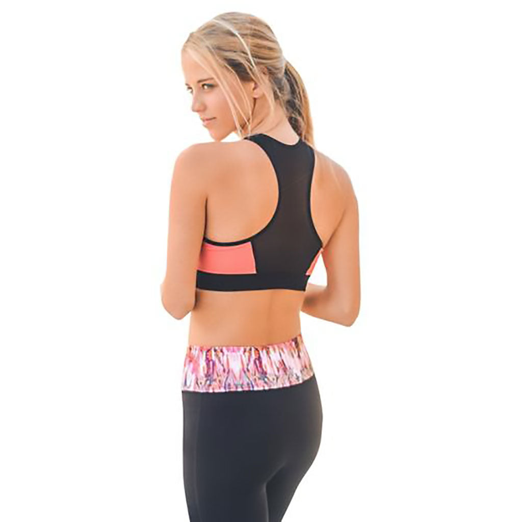 Coral and black mesh back racer style sports and yoga bra. PalmBeachAthleticWear.com