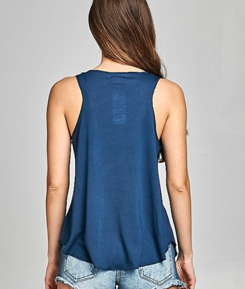Navy Blue Celestial Zodiac Yoga Tank - Purple Lily - Palm Beach Athletic Wear